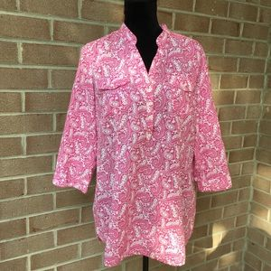 Tommy Hilfiger pink and white paisley shirt